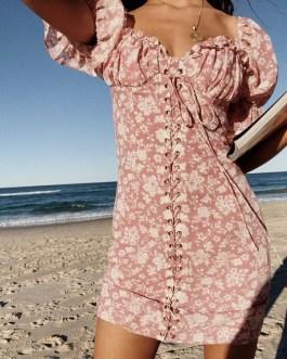 Elegant V Neck Printing Puff Sleeve Dress