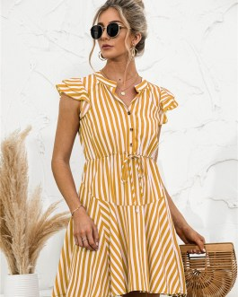 Fashion Cap Sleeve Striped Patchwork Dresses