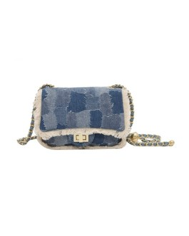 Fashion Fur Plaid Chain Side Bags