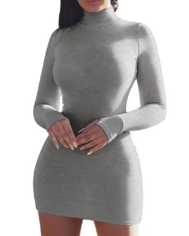 Fashion High Collar Long Sleeve Pure Color Holiday Casual Dress