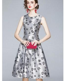 Fashion Jacquard Dresses Sleeveless O Neck Star Weave Ball Gown Tank Dresses