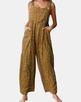 Floral Print Straps Wide Leg Pockets Vintage Jumpsuit
