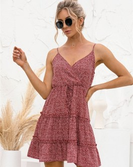 Floral V Neck Spaghetti Strap Ruffle Sleeveless Dresses