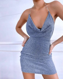 Halter Neck Backless Sexy Sequins Stacked A-line Dress
