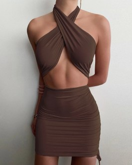 Halter Sleeveless Hollow Out Sexy Ruched Backless Dresses