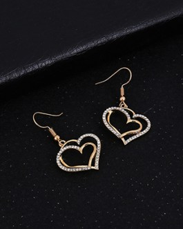 Heart Pendant Necklace with Earring Jewelry Set