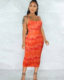 Heart Print Backless Sleeveless Midi Dress