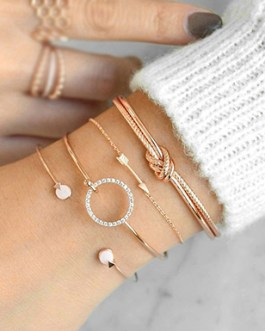 Knotted Arrow Open Circle of Rhinestones Open Pearls Four Piece Bracelet Set