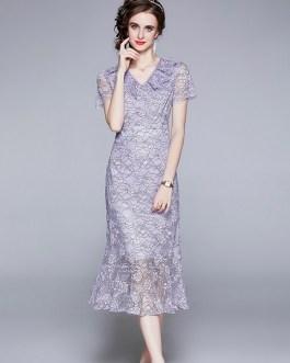Lace Flowers Mermaid Dress Short Sleeve V Neck Ruffles Party Vestidos