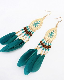 Native American Style Earrings with Genuine Feathers