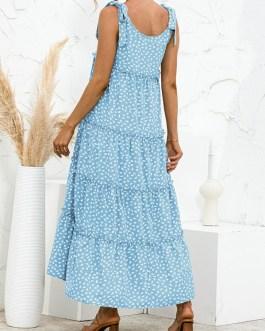 New Dot Sleeveless Casual Maxi Dress