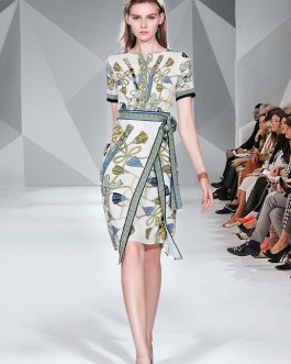 New Fashion Vintage Print Office Dress Sexy O-Neck Short Sleeve High Waist Lace-up Split Irregular Bodycon Dresses