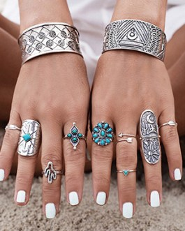 Nine Piece Ring Set with Faux Turquoise