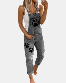 Paw Printed Straps Ripped Demin Jumpsuit