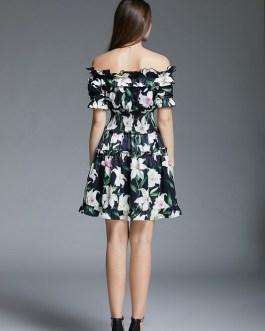 Lily Floral Print Slash Neck Ruffles Elastic Waist Beach Casual Dress