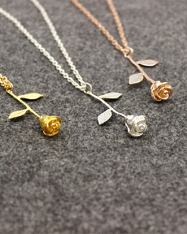 Silver Beauty Rose Pendant Chain Necklace