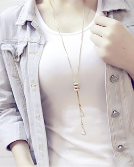 Snake Style Wrap-Around Pearl Bead Long Statement Chain Necklace