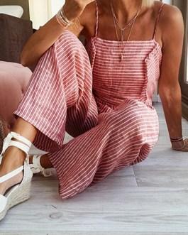 Striped Print Side Button Spaghettti Straps Sleeveless Jumpsuits