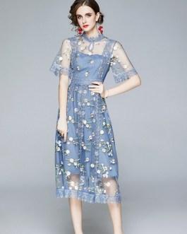Tulle Mesh Lace Dress Flare Short Sleeve Embroidery Flower Midi Vestido