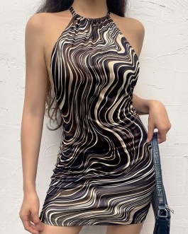 Animal Print Pattern Lace Up Casual Halter Backless Midi Bodycon Dresses