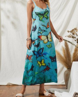 Casual Bohemian Butterflies Print Straps Dress