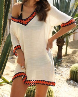 Casual Embroidery Crochet V-Neck Beaches Holiday Blouse