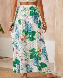 Casual Floral & Geometry Pattern Sun Protection Beach Skirt
