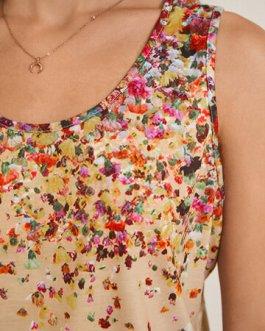 Casual Floral Print O-Neck Sleeveless Tank Top