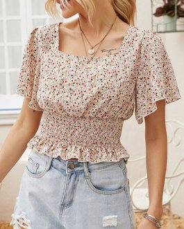 Elastic Waist Square Collar Short Sleeve Floral Print Blouse