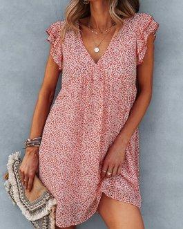 Floral Print V-Neck Ruffle Short Sleeve Chiffon Dress