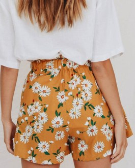 Floral Printed Pattern Ruffles Polyester Casual Shorts