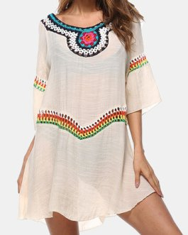 Holiday Embroidery Crochet Hollow Out Beaches Dress
