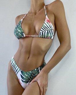 Sexy Halter Backless Bikinis With Tassel Skirt