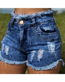 Shorts Casual Skinny Solid Color Buttons Denim Short Pants