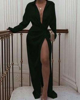 Sleeves V-Neck Pleated Irregular Polyester Long Maxi Dresses
