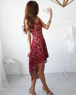 Spaghetti Straps High Low Semi Sheer Lace Short Dress