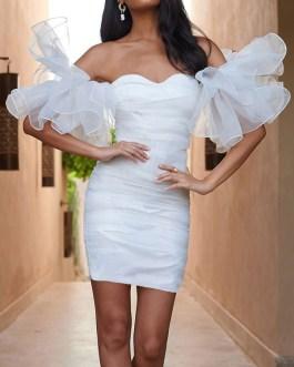 Sweetheart Organza Ruffle Sleeve Mini Dress
