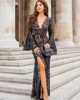 V-Neck Lace Long Sleeves Asymmetrical Semi Formal Party Dresses