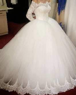 Beaded Appliques Lace Long Sleeves Bridal Gown