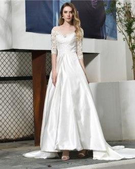 Off Shoulder Applique Lace Corset Court Train Bridal Gown