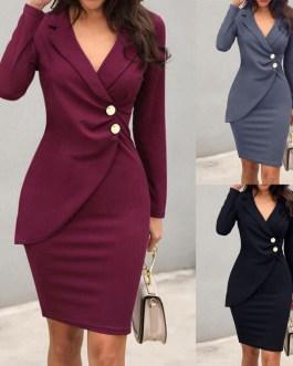 Turn Down Collar Long Sleeve Buttons Bodycon Midi Dress
