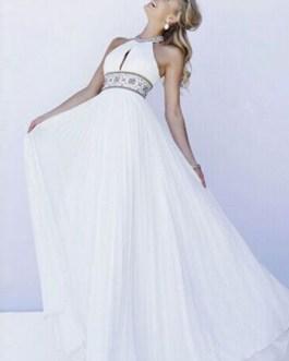 Backless Halter Sash Chiffon Long Prom Dress
