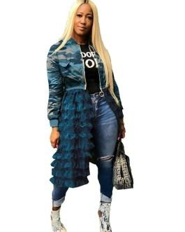 Camouflage Streetwear Long Sleeve Mesh Patchwork Casual Jacket