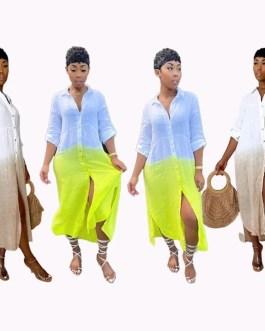 Casual Contrast Color Patchwork Long Shirt Dress