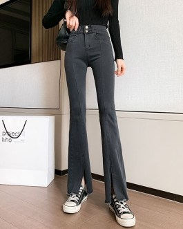 Casual Cotton Wide Leg Full Length Bottom Stretch Jeans
