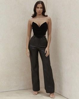 Casual High Waist PU Leather Straight Street Pants