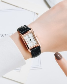 Casual Leather Rectangle Rhinestone Wrist Watch