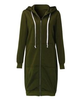 Casual Long Hoodies Sweatshirt Zip Up Jacket
