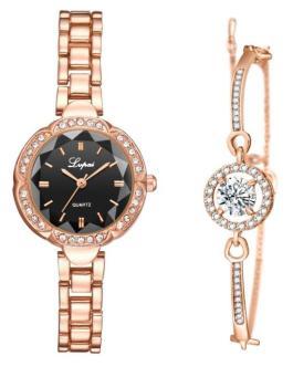 Casual Quartz Rhinestone Bracelet and Wrist Watch Set
