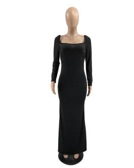 Casual Streetwear Stretch Bodycon Long Dress
